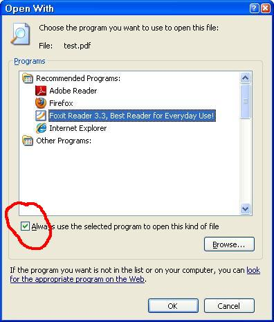 changing default programs to open files - open with