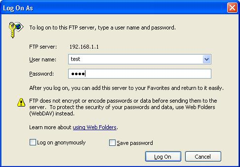 computer ftp login to access network drive