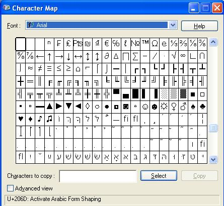 windows xp character map program
